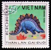 Stegosaurusen serie ägnade till förhistoriska djur, circa 1978 Arkivbild