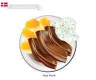Stegt Flaesk o Fried Bacon, il piatto nazionale danese Illustrazione di Stock