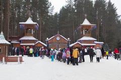 Stehen Sie auf dem Lehen Vater Frost Veliky Ustyug, Vologda-Region, Russland an Lizenzfreie Stockfotografie