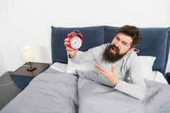 Stehen Sie früh auf Spitzen für früh aufwachen Schläfriges aufwachendes Gesicht des bärtigen Hippies des Mannes Tagesprogramm für stockfotografie