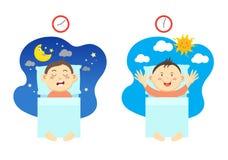 Stehen Sie früh auf und haben Sie gesunden Schlaf lizenzfreie abbildung