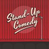 Stehen Sie oben Komödienlivestadiums-Rotvorhang Lizenzfreie Stockfotos
