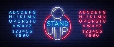 Stehen Sie oben Logo in der Neonart Komödie ist Leuchtreklame, Symbol, eine Einladung zu einer Komödienleistung, helle Fahne stock abbildung