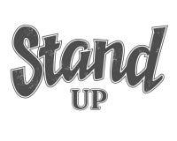 Stehen Sie oben Zeichen mit Entwurfs- und Gutshofbeschaffenheit, Vektorkomödienphrase lizenzfreie stockfotos