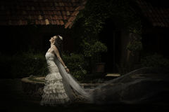 Stehende Außenseite der schönen Braut mit dem Schleier, der im Wind durchbrennt Stockbilder