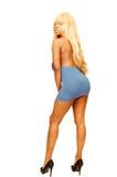 Stehende blonde Frau in blauem Kleid 85. Lizenzfreie Stockfotos