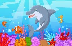 Stehende Delphinkarikatur mit Sammlungsfischen Stockfotos