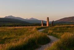 Stehende Steine Machrie, Insel von Arran Schottland Lizenzfreie Stockbilder