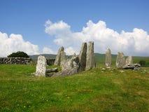 Stehende Steine am niedrigeren der zwei pr?historischen Standorte bei Cairnholy-Steinhaufen, bei Dumfries und bei Galloway, Schot stockfoto