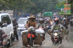Stehender Gewässer wegen der schlechten Entwässerung Stockfotos