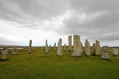 Stehender Steinkreis Callanish, Callanish, Insel von Lewis, Schottland, Vereinigtes Königreich, Großbritannien, Europa stockfotografie
