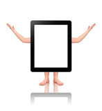 Stehender Tablette-PC mit menschlichen Gliedern Lizenzfreie Stockbilder
