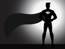 Stehendes Superheld-Schattenbild Lizenzfreies Stockfoto