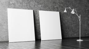 Stehlampe und zwei Poster 3d überträgt Lizenzfreie Stockfotografie