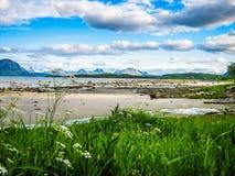 Steigen,一点村庄在北部挪威 免版税图库摄影