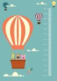 Steigen Sie Karikaturen, Meterwand oder Höhenmeter von 50 bis 180 Zentimeter, Vektorillustrationen im Ballon auf Stockfoto