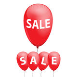 Steigen Sie mit dem Aufschriftverkauf im ballon auf, um Ihren Plan zu verzieren Stockbild