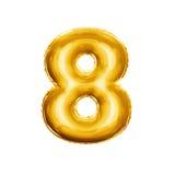 Steigen Sie Nr. 8 realistisches Alphabet der goldenen Folie acht 3D im Ballon auf Stockfotografie