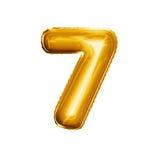 Steigen Sie Nr. 7 realistisches Alphabet der goldenen Folie sieben 3D im Ballon auf Stockfotografie