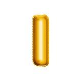 Steigen Sie realistisches Alphabet der goldenen Folie 3D des Buchstaben I im Ballon auf Lizenzfreie Stockbilder