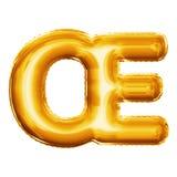 Steigen Sie realistisches Alphabet der goldenen Folie der Verbindung 3D des Buchstaben OE im Ballon auf Stockfoto