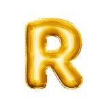 Steigen Sie realistisches Alphabet der goldenen Folie des Buchstaben R 3D im Ballon auf Stockbilder