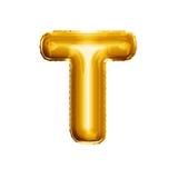 Steigen Sie realistisches Alphabet der goldenen Folie des Buchstaben T 3D im Ballon auf Stockfotografie