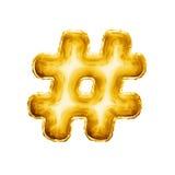 Steigen Sie realistisches Alphabet der goldenen Folie des hashtag Zahlzeichen-Symbols 3D im Ballon auf Lizenzfreies Stockfoto