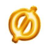 Steigen Sie realistisches Alphabet der winzigen goldenen Folie 3D des Buchstaben O im Ballon auf Lizenzfreies Stockbild