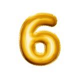 Steigen Sie Zahl 6 sechs realistisches Alphabet der goldenen Folie 3D im Ballon auf Lizenzfreies Stockfoto