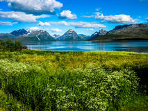 Steigen, wenig Dorf in Nord-Norwegen Stockbilder
