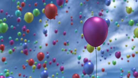 Steigende Ballone in der Wiedergabe der Luft 3D Stockfotografie