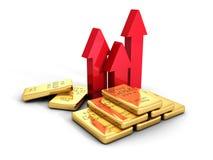 Steigende Pfeile des Goldbarren-Preises wachsen heran Die goldene Taste oder Erreichen für den Himmel zum Eigenheimbesitze Stockfotografie