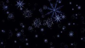 Steigende Schneeflocken, Matt, Weitwinkel, loopable Schnee-Flocken, die nah oben auf schwarzen Hintergrund mit Alpha steigen stock abbildung