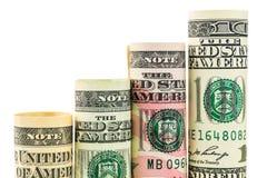Steigende Schritte gemacht von den Rollen von vier bewertetem amerikanischem Dollar Stockfotografie