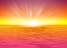 Steigende Sonne des schönen Seehintergrundes vektor abbildung