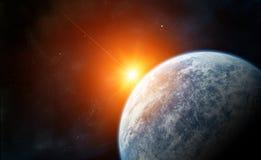 Steigender Stern mit blauem Planeten stock abbildung