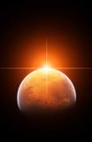 Steigender Sun mit Planeten Mars vektor abbildung