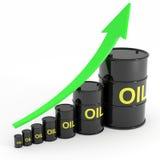 Steigendes Ölbarreldiagramm. Stockfotografie