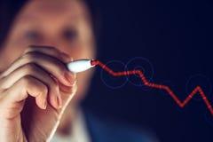 Steigendes Diagramm der Geschäftsfrauzeichnung für positive Geschäftsergebnisse Lizenzfreies Stockbild