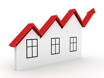 Steigendes Grundbesitzkonzept bringen den Pfeil unter, der aufwächst Lizenzfreies Stockfoto