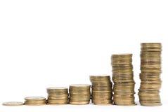 Steigendes Münzendiagramm Lizenzfreies Stockfoto