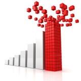 Steigendes Profitdiagramm mit Gebäuderotem Spitzenführer Stockfotografie