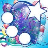 Steigt Parteikarte für Jungen mit Leerraum im Ballon auf Lizenzfreie Stockfotos