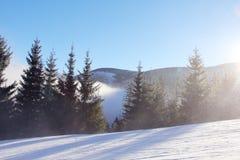 Steigung auf der Skifahrenrücksortierung Stockfoto