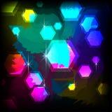 Steigungshintergrund mit Hexagonen und grellem Glanz stockfoto