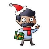 Steigungskarikatur eines Mannes mit dem Schnurrbart- und Weihnachtsgeschenk, das Sankt-Hut tr?gt vektor abbildung