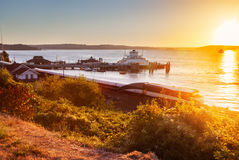 Steilacoom ferry dock at sunset Royalty Free Stock Photography