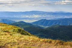Steile afgrond van berg met vergeeld gras Stock Afbeeldingen