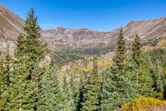 Steile bergpieken en groene pijnboombomen dichtbij de top van Hoosier-Pas royalty-vrije stock foto's